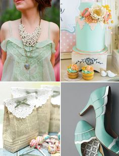 Dahlias Day - The Wedding Talk Blog for the Practical Bride: Mint green with a touch of coral and lace for a vintage shower