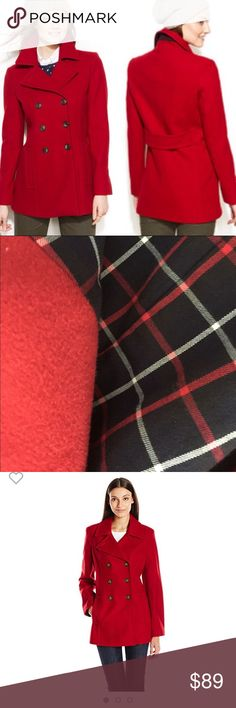 Tommy Hilfiger Double Breasted Peacoat Red in great condition plaid lining Tommy Hilfiger Jackets & Coats Pea Coats