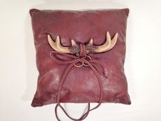 Wedding Ring Bearer Pillow,Leather look brown micro suede, Embelished with Faux Antlers and Leather Ring Ties,Country Rustic Wedding Ring Bearer Pillows, Leather Ring, Rustic Wedding, Wedding Ideas, Leather Backpack, Bucket Bag, Wedding Rings, Unique Jewelry, Handmade Gifts