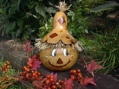 Painted Gourd Scarecrow Lamp Harvest Fall Home Decor