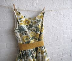 mustard bloom dress by sohomode. I'm pretty sure this is my table cloth. HOW IS IT SO CUTE?