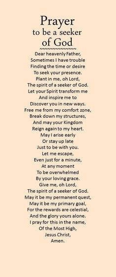 Prayer to be a seeker of God