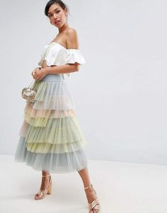 Shop ASOS Tulle Prom Skirt in Rainbow Colours. With a variety of delivery, payment and return options available, shopping with ASOS is easy and secure. Shop with ASOS today. Couture Mode, Style Couture, Couture Fashion, Denim Skirt Outfits, Denim Skirts, Tulle Dress, Tulle Skirts, Dance Outfits, Mode Inspiration