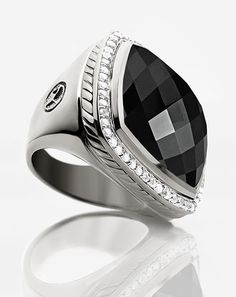 Mens black ring..David Yurman