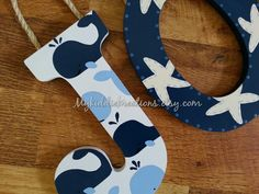 Hand Painted Letters Nautical Theme Whales by MyKiddieKreations, $12.00  LOVE LOVE LOVE- hang from white oar