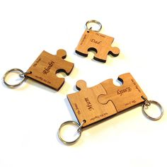 'we fit together' personalised wood keyrings by made lovingly made | notonthehighstreet.com