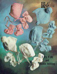 Bellmans 1108 baby bonnet sets vintage knitting pattern ORIGINAL