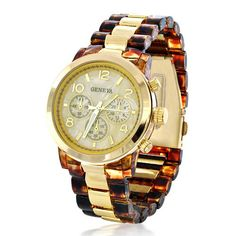 Womens Chronograph Tortoise Shell Modern Gold Tone Link Watch