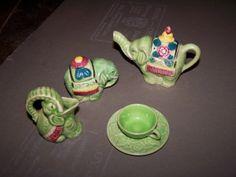 Vintage toy tea set - green elephants!  Probably 1930's