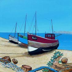 Paul Bursnall - Paintings for Sale Colorful Paintings, Paintings For Sale, Cool Pictures, Beautiful Pictures, New York Painting, Seaside Art, Boat Art, Art Lessons For Kids, Sharpie Art
