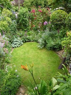 garden design idea for a small garden, I love all the different plants and flowers #gardendesign