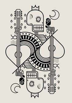 Surf Royale by Dario Genuardi. Cards, Skull, line drawing Graphic Design Illustration, Graphic Art, Illustration Art, Image Pinterest, Art Graphique, Graphic Design Inspiration, Doodle Art, Line Art, Vector Art