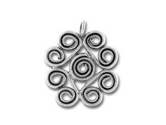 Hill Tribe Silver Silver Ornate Spiral Pendant from ArtBeads