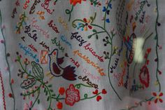 'Lenço dos namorados', meaning the boy friend's handkerchief, where love messges would be sent. Vila Verde's traditional folk embroideries. Vila Verde is a small town around Braga, Portugal.