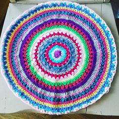 """The A side of my new cushion to be! Thank you @redagape_styleanddesign for the #mandysmegamandala!!! Looking at the scale I think I can add one more row to the B side... #crochetmandala #crochetlove #craftastherapy_colorful"" Photo taken by @kellykellykellygreen on Instagram, pinned via the InstaPin iOS App! http://www.instapinapp.com (09/03/2015)"