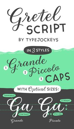 This quirky script is packed with features. Best of all: Optical sizes! The three style family was designed together calligrapher Natascha Safarik. New Fonts, Script, Lettering, Type, Design, Letterpress Printing, Script Typeface, Scripts