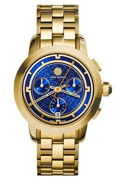 Free shipping and returns on Tory Burch 'Tory' Chronograph Bracelet Watch, 37mm at Nordstrom.com. Uniquely geometric markers help tell three-hand time for this logoed watch expertly crafted in Switzerland. Shatterproof sapphire crystal protects the precise chronograph subdials while a brushed bracelet completes the heirloom-worthy design.