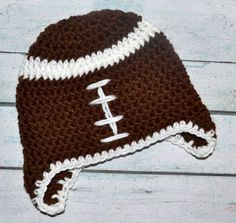 Crochet football hat for girl or boy - toddler size available. $16.00, via Etsy.