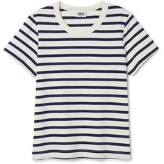 Kate Striped T-shirt ❤ liked on Polyvore featuring tops, t-shirts, relaxed fit tee, white striped t shirt, white stripes t shirt, white round neck t shirt and striped sleeve t shirt