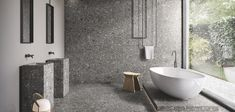 Lombarda expands the potential of contemporary architecture with a collection inspired by Ceppo di Gré, the stone used for Milan's most iconic buildings. With the striking, charismatic Lombarda, Ergon confirms i Target Home Decor, Cheap Home Decor, Bathroom Interior Design, Home Interior, Black Stone, Boffi, Wall And Floor Tiles, Wall Tile, Home Remodeling