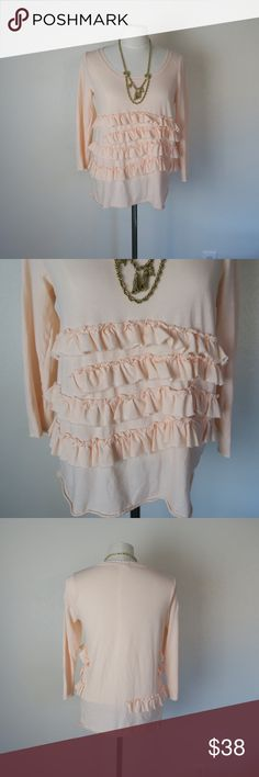 J. Crew Ruffle Long-Sleeved Tee Add a little romance to your look with this top. Pair it with dark skinnies, those Schutz boots up for grabs in my closet and a statement necklace. Size Large. Necklace is not for sale. J. Crew Tops Tees - Long Sleeve