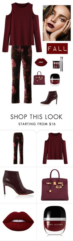 """Velvet for Fall"" by kotnourka ❤ liked on Polyvore featuring F.R.S For Restless Sleepers, Santoni, Hermès, Lime Crime, Marc Jacobs, MAC Cosmetics and Kerr®"