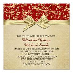 Red/Gold Christmas Ribbon Damask Wedding Invite