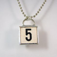 Number 5 Pendant Necklace by XOHandworks
