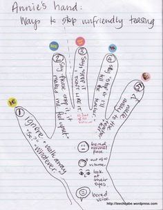Students draw their hand and insert things to remind them what to do when something is bugging them.