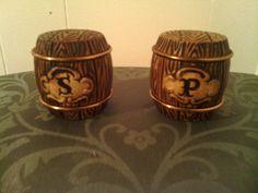 Vintage Barrel Monogrammed Salt & Pepper Shakers $5.99 @Ebay