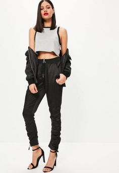 Black Ring Detail Zip Ruched Ankle Joggers | #Chic Only #Glamour Always