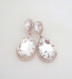Rose Gold Bridal earrings Rose Gold Teardrop by treasures570