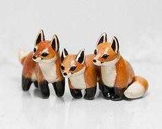 Fox estatuilla OOAK hecha a mano del polímero arcilla Animal Totem