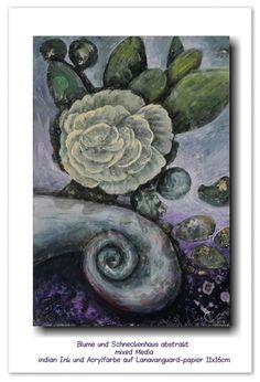 Blume und Schneckenhaus abstrakt   mixed Media  indian Ink und Acrylfarbe auf Lanavanguard-papier 11x16cm (inspiriert von Gerda Lipski)