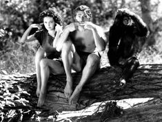 Cheetah, Johnny Weissmuller as Tarzan and Maureen O'Sullivan as Jane---I LOVED THIS SHOW WHEN I WAS GROWING UP!