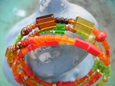 Tangerine Dream Bangle Bracelet  Memory Wire by TheOmbrePoodle, $12.00