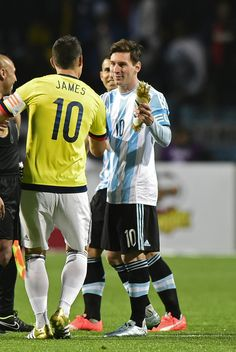 James Rodriguez of Colombia greets Lionel Messi of Argentina prior the 2015 Copa America Chile quarter final match between Argentina and Colombia at Sausalito Stadium on June 26, 2015 in Viña del Mar, Chile.