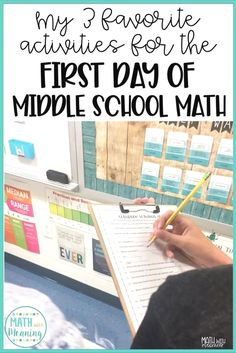 Planning the first day of school can be stressful! Learn my 3 favorite activities that will allow you to have the perfect first day of middle school math! Middle School Classroom, Middle School Science, High School, Middle School Decor, 1st Day Of School, Future Classroom, Google Classroom, Anchor Charts, Escape Room