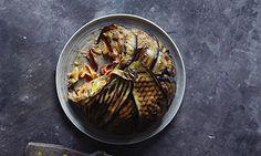 top 10 aubergine recipes - pasta pie enclosed with aubergine slices; lemon & aubergine risotto; roasted aubergine & kale tapenade