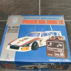 ITEM Retro late 70 s early 80 s Porsche 935 martini racing radio controlled car by taiyo DISCRIPTION item is used has some marks but looks nice has