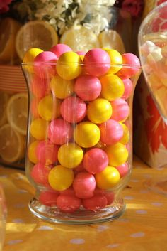 Candy jars at a Pink Lemonade Birthday Party!  See more party ideas at CatchMyParty.com!