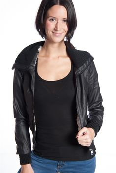 Shearling Lined Ribbed Collar Faux Leather Moto Jacket - Black from Miss Posh at Lucky 21
