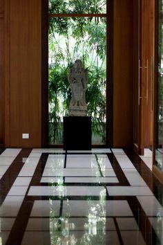 Oriental room floor - black and white