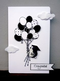 great card - love the black white balloons!
