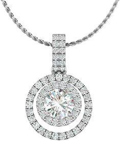 2.20 Ct Princess Cut Diamond Halo Pendant Necklace 14k White Gold Finish