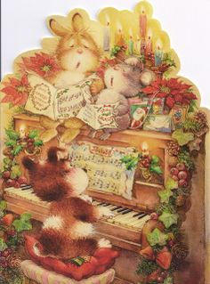 Bunny, Mouse & Puppy Singing at Christmas by Lisi Martin by Mailbox Happiness-Angee at Postcrossing Christmas Music, Christmas Carol, All Things Christmas, Christmas Time, Christmas Crafts, Art Vintage, Vintage Cards, Christmas Illustration, Cute Illustration