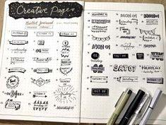 Awesome Bullet Journal header and title ideas, lettering styles, and banners. Tons of inspirations to decorate your Bullet Journal pages. #mashaplans #bulletjournal #bujo #headers #banners #titleideas Bullet Journal Headers, Bullet Journal Spread, Bullet Journal Ideas Pages, Bullet Journal Inspiration, Journal Pages, Bullet Journals, Tombow Dual Brush Pen, Diary Planner, Lettering Styles