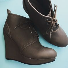 Grey taupe wedge bootie Grey faux leather wedge bootie Shoes Ankle Boots & Booties