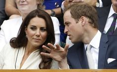 The Duke and Duchess of Cambridge sits on Centre Court for the men's quarter-final tennis match