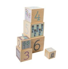 Children's wooden stacking blocks beautifully illustrated with pastel pictures, numbers and blocks, a lovely educational toy for babies and toddlers that is not only fun but looks great as part of their nursery of playroom decor Stacking Blocks, Stacking Toys, Cubes, Baby Toys, Kids Toys, First Birthday Gifts, Playroom Decor, Baby Boy Rooms, Educational Toys